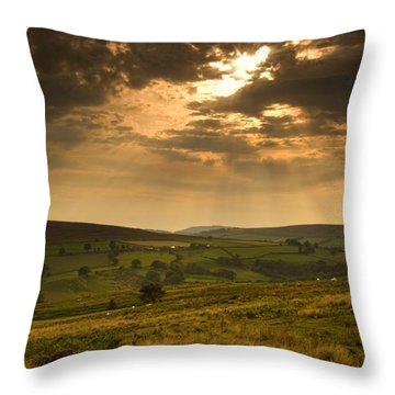 Sunrays Through Clouds, North Throw Pillow by John Short