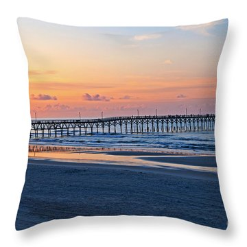 Sunrise At Cherry Grove Pier Throw Pillow