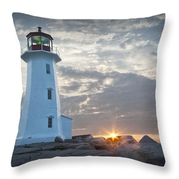 Sunrise At Peggys Cove Lighthouse In Nova Scotia Number 041 Throw Pillow