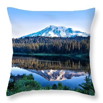 Sunrise At Reflection Lake Throw Pillow by Ronald Lutz