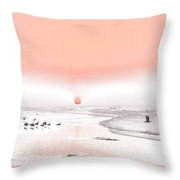 Pastel Sunrise Beach Throw Pillow