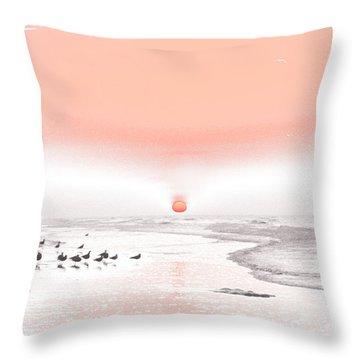 Pastel Sunrise Beach Throw Pillow by Tom Wurl
