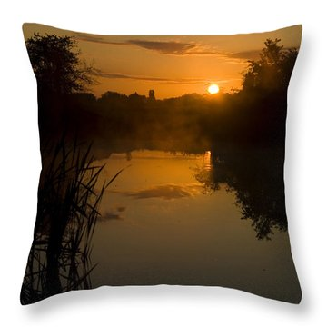 Sunrise By A Lake Throw Pillow by Pixie Copley