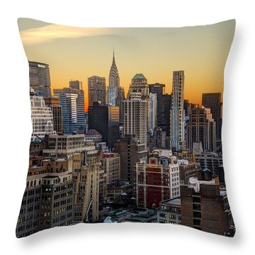 Sunrise In The City II Throw Pillow by Janet Fikar