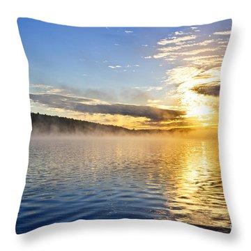 Sunrise On Foggy Lake Throw Pillow