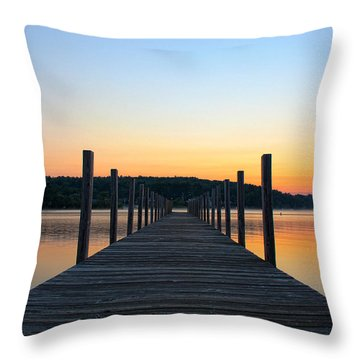 Sunrise On The Docks Throw Pillow by Michael Mooney