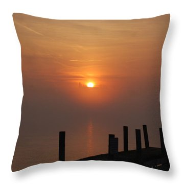 Sunrise On The River Throw Pillow by Randy J Heath