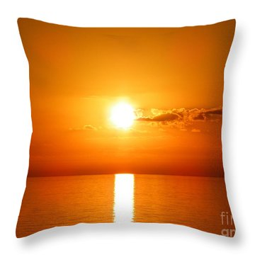 Throw Pillow featuring the photograph Sunrise Orange Skies by Eve Spring