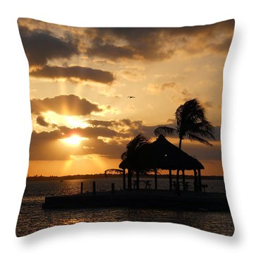 Throw Pillow featuring the photograph Sunrise Over Bay by Clara Sue Beym