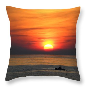 Throw Pillow featuring the photograph Sunrise Over Gyeng-po Sea by Kume Bryant