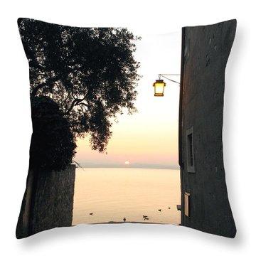 Sunrise Over Lake Garda Throw Pillow