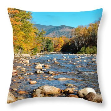 Sunrise Over The Saco Vertical Throw Pillow by Geoffrey Bolte
