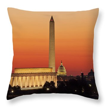 Throw Pillow featuring the photograph Sunrise Over Washington Dc by Brian Jannsen