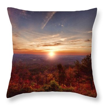 Sunrise-talimena Scenic Drive Arkansas Throw Pillow by Douglas Barnard