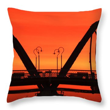 Sunrise Walnut Street Bridge Throw Pillow