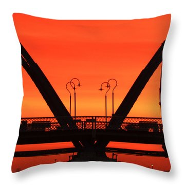 Sunrise Walnut Street Bridge Throw Pillow by Tom and Pat Cory
