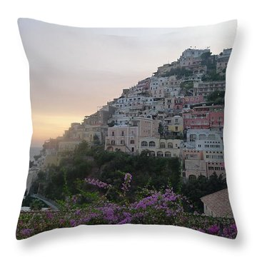 Throw Pillow featuring the photograph Sunset - Positano by Nora Boghossian