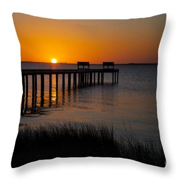 Sunset Across Currituck Sound Throw Pillow by Ronald Lutz