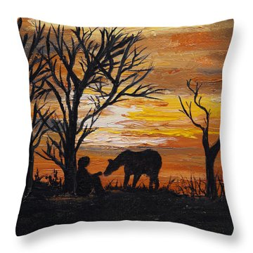 Sunset After A Great Ride Throw Pillow