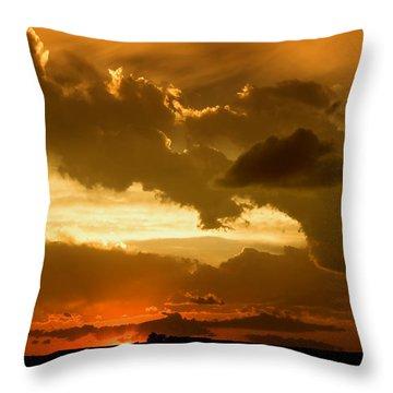 Sunset After The Storm Throw Pillow by Ellen Heaverlo