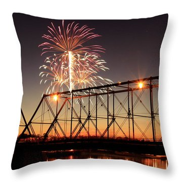 Sunset And Fireworks Throw Pillow