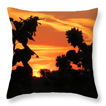 Throw Pillow featuring the photograph Sunset And Sunflowers by Tina M Wenger