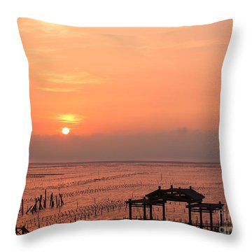 Sunset At Cigu Bay Throw Pillow by Yali Shi
