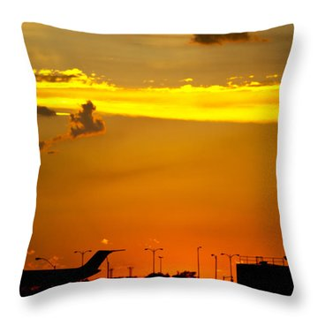Sunset At Kci Throw Pillow by Lisa Plymell