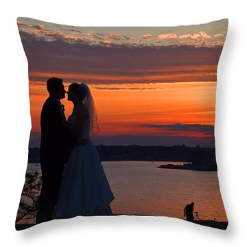 Sunset At Night A Wedding Delight Throw Pillow