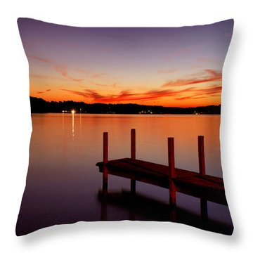 Sunset At The Dock Throw Pillow by Michelle Joseph-Long