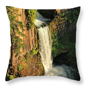 Sunset At Toketee Falls Throw Pillow by Winston Rockwell