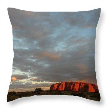 Sunset At Uluru Throw Pillow by Vivian Christopher