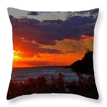 Sunset By The Beach Throw Pillow by Davandra Cribbie
