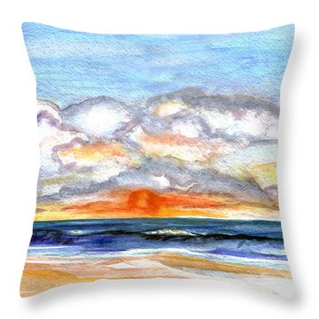 Throw Pillow featuring the painting Sunset Clouds by Clara Sue Beym