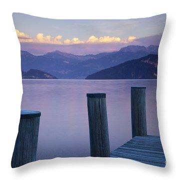 Sunset Dock Throw Pillow by Brian Jannsen