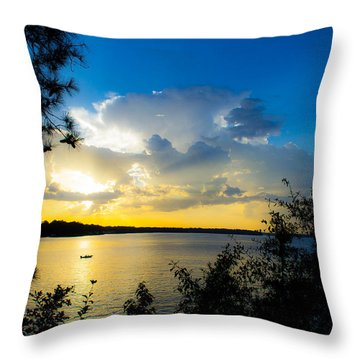 Sunset Fishing Throw Pillow by Shannon Harrington