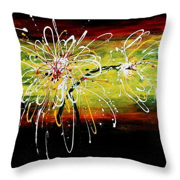 Sunset Flowers Throw Pillow by Kume Bryant