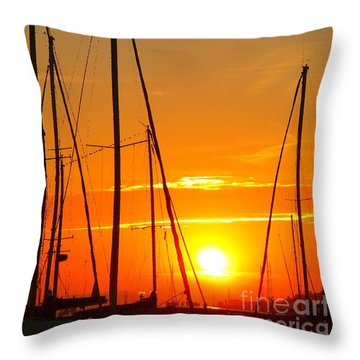 Sunset In A Harbour Digital Photo Painting Throw Pillow by Rogerio Mariani