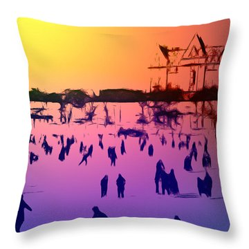 Sunset In Central Park Throw Pillow