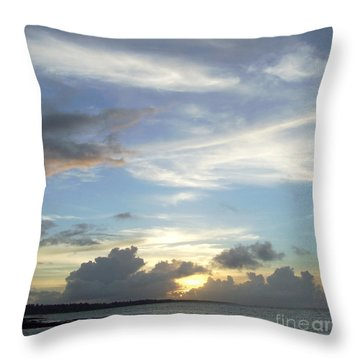 Sunset In Majuro Throw Pillow by Andrea Anderegg