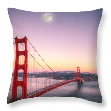 Sunset In San Francisco Throw Pillow by Jim And Emily Bush