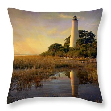 Sunset Lighthouse 3 Throw Pillow by Marty Koch