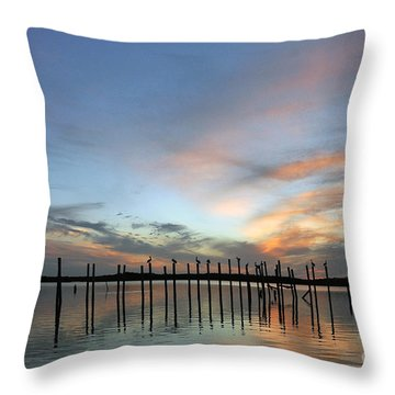 Throw Pillow featuring the photograph sunset marina Everglades by Dan Friend