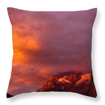 Sunset Murren Switzerland Throw Pillow