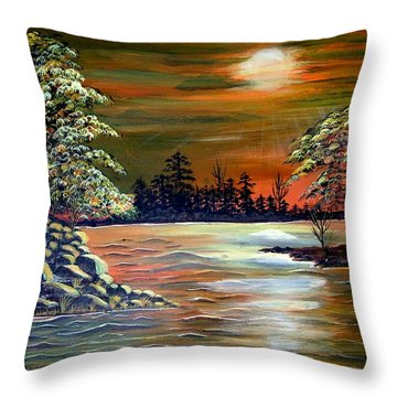 Sunset On Lake Windsor Throw Pillow