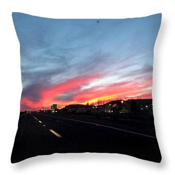 Sunset On Route 66 Throw Pillow