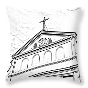Sunset On St Louis Cathedral In Jackson Square French Quarter New Orleans Photocopy Digital Art Throw Pillow by Shawn O'Brien