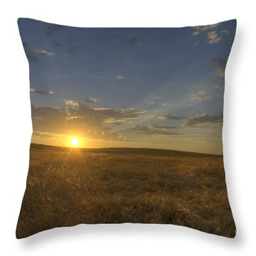 Sunset On The Prairie Throw Pillow by Jim And Emily Bush