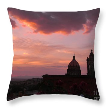 Throw Pillow featuring the photograph Sunset On The Roof Top Restaurant by John  Kolenberg