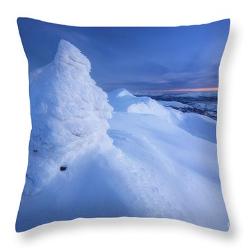 Sunset On The Summit Toviktinden Throw Pillow by Arild Heitmann